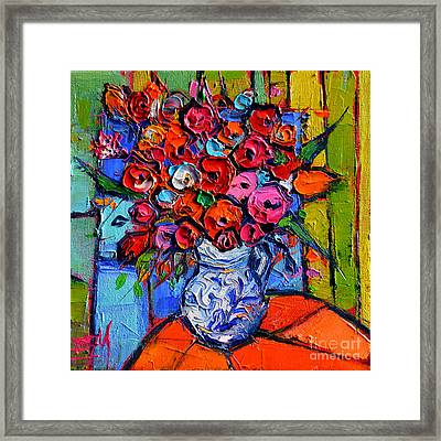 Floral Miniature - Abstract 0715 - Colorful Bouquet Framed Print