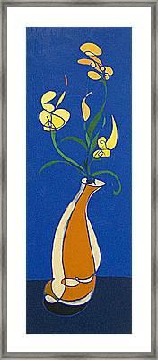 Floral On Blue Framed Print