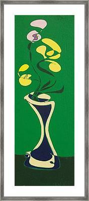 Floral On Green Framed Print