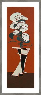 Floral On Red Framed Print
