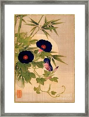 Floral On Silk Framed Print