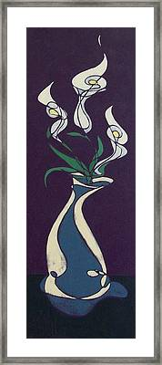 Floral On Violet Framed Print