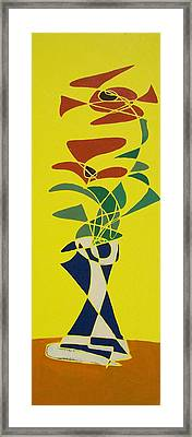 Floral On Yellow Framed Print