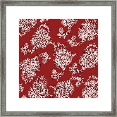 Floral Pattern In Red Framed Print by HD Connelly