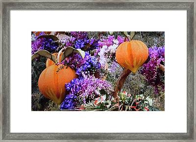 Framed Print featuring the photograph Floral Peaches by Linda Phelps