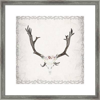 Floral Reindeer Skull  Framed Print by Michele Carter