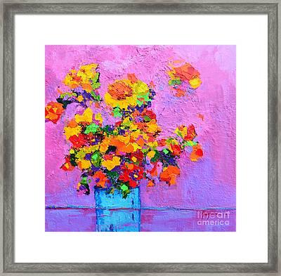 Floral Still Life - Flowers In A Vase Modern Impressionist Palette Knife Artwork Framed Print