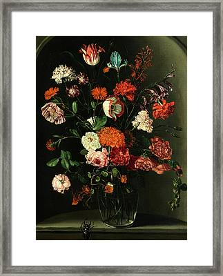 Floral Still Life In A Niche With Stag Beetle Framed Print by Peter van Kessel