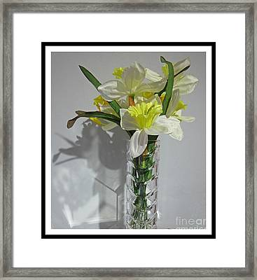 Floral Still Life In Crystal Vase Framed Print by John Malone