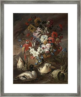 Floral Still Life With A Parrot And Ducks Framed Print