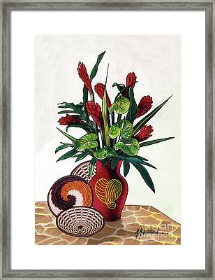 Floral Tropical Framed Print by Marcella Muhammad
