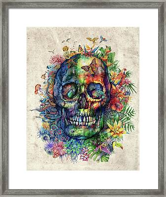 Floral Tropical Skull Framed Print