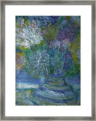 Floral With Cracked Vase Framed Print by Anne-Elizabeth Whiteway
