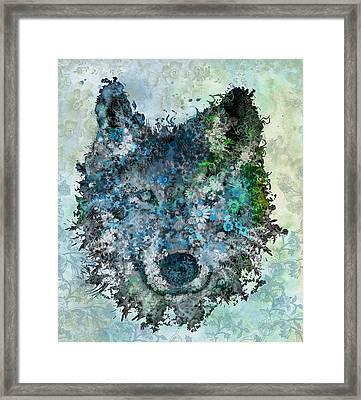 Floral Wolf 2 Framed Print