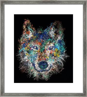 Floral Wolf 3 Framed Print