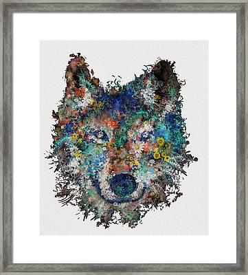 Floral Wolf Framed Print