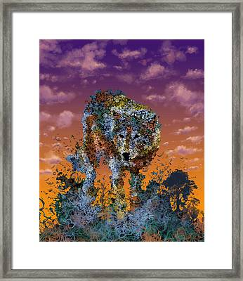 Floral Wolf T Framed Print by Bekim Art