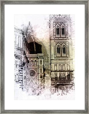 Florence Dome Architecture 3 - By Diana Van Framed Print by Diana Van