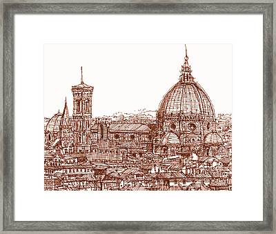 Florence Duomo In Red Framed Print by Adendorff Design