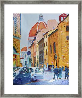 Florence Going To The Duomo Framed Print