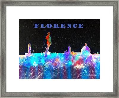 Florence Italy Skyline - Blue Banner Framed Print