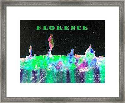 Florence Italy Skyline - Green Banner Framed Print