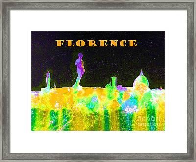 Florence Italy Skyline - Orange Banner Framed Print