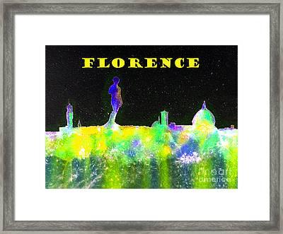 Florence Italy Skyline - Yellow Banner Framed Print