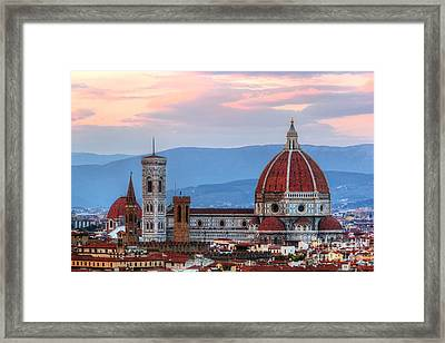 Florence, Italy Sunset Skyline. Cathedral Of Saint Mary Of The Flowers Framed Print