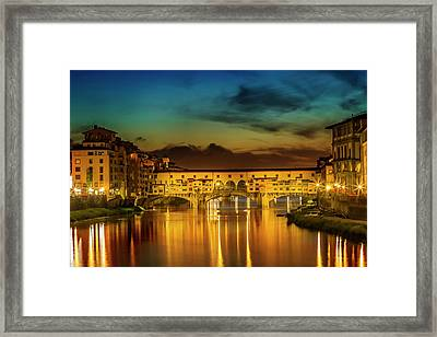 Florence Ponte Vecchio At Sunset Framed Print