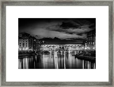 Florence Ponte Vecchio At Sunset Monochrome Framed Print