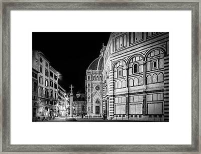 Florence Saint Mary Of The Flowers And Baptistery In Monochrome Framed Print
