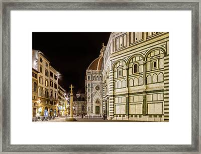 Florence Saint Mary Of The Flowers And Baptistery In The Evening Framed Print by Melanie Viola