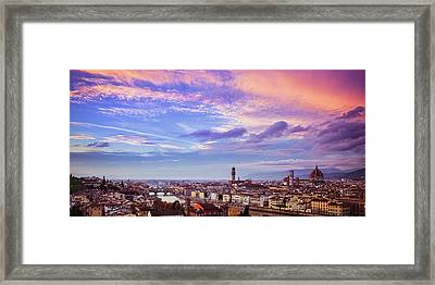 Framed Print featuring the photograph Florence Skyline At Sunset by Andrew Soundarajan