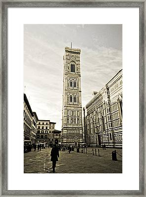 Florence Square With Giotto Framed Print by Emilio Lovisa