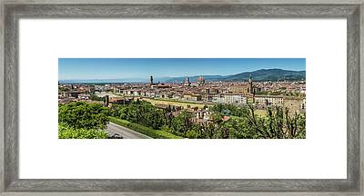 Florence View From Piazzale Michelangelo - Panoramic Framed Print by Melanie Viola