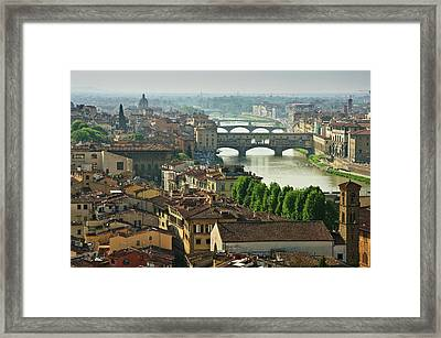 Florence. View Of Ponte Vecchio Over River Arno. Framed Print