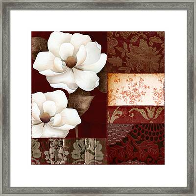 Flores Blancas Square II Framed Print by Mindy Sommers
