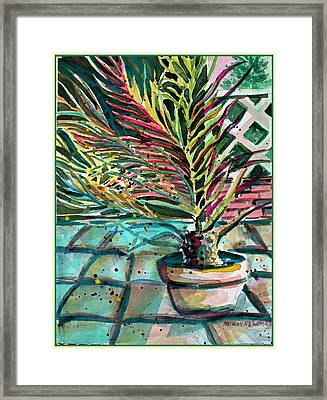 Framed Print featuring the painting Florescent Palm by Mindy Newman
