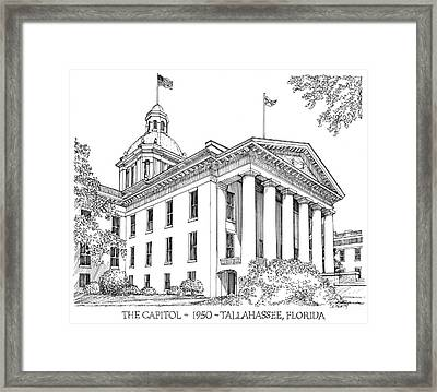 Florida Capitol 1950 Framed Print by Audrey Peaty