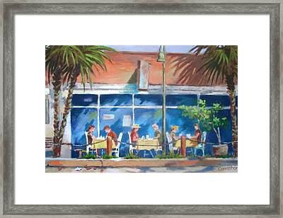 Framed Print featuring the painting Florida Dining Out by Tony Caviston