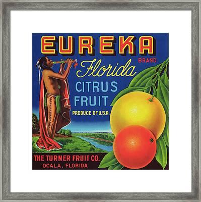 Florida Eureka Citrus Fruit Crate Label Framed Print
