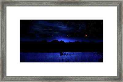 Florida Everglades Lunar Eclipse Framed Print by Mark Andrew Thomas