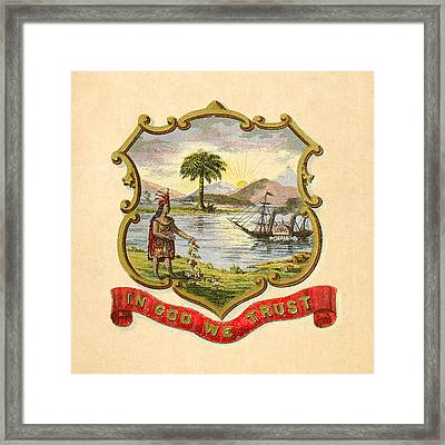Florida Historical Coat Of Arms Circa 1876 Framed Print