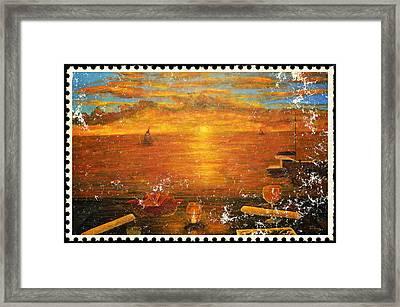 Florida Key's Stamp Framed Print by Ken Figurski