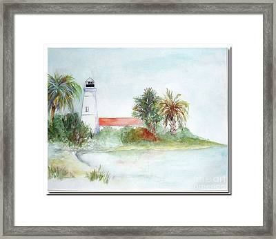 Framed Print featuring the painting Florida Lighthouse by Sibby S