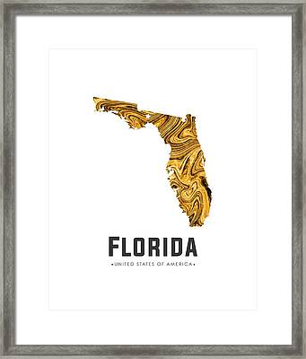 Florida Map Art Abstract In Yellow Gold Framed Print