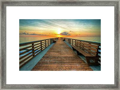 Florida Pier Sunrise Framed Print