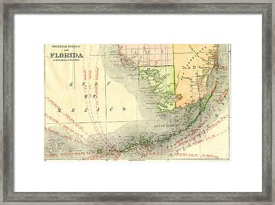 Florida Showing Flagler's East Coast Railroad Through Southeastern Florida 1912 Framed Print