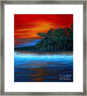 Framed Print featuring the painting Florida Sunset by Oksana Semenchenko